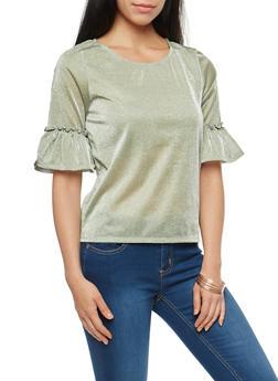 Shimmer Knit Flounce Sleeve Top - 1303015992970