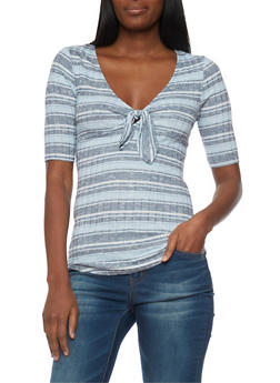 Short Sleeve Striped Rib Knit V Neck Top - 1303015993540