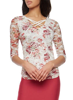 Floral Lace Caged Neck Top - 1303015994219