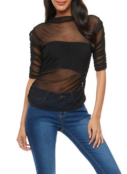 Ruched Sleeve Mesh Top - 1303015995548