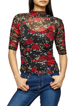 Floral Mesh Ruched Sleeve Top - 1303015995550