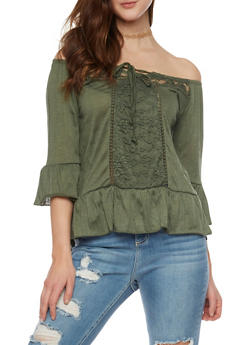 Crinkle Knit Off the Shoulder Peasant Top with Lace Trim - OLIVE - 1303015996160