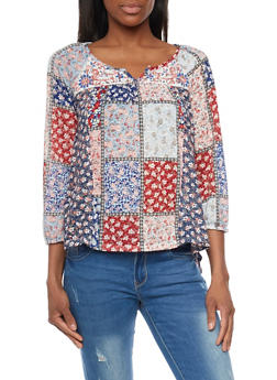 Patchwork Print Peasant Top - 1303015996364