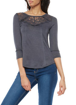 Marled Soft Knit Lace Yoke Top - 1303015996865