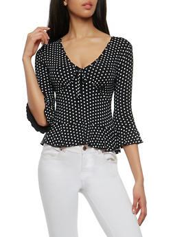 Polka Dot Bell Sleeve Top - BLACK - 1303015997094