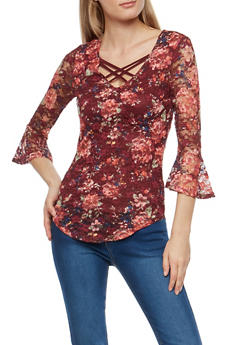 Double Criss Cross Floral Lace Top - 1303015997902