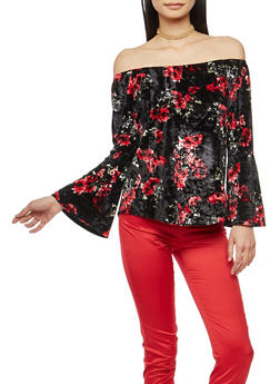 Floral Velvet Off the Shoulder Top with Bell Sleeves - 1303015999283