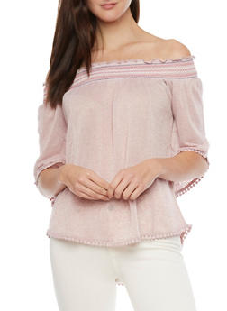 Multi Color Smocked Neckline Off Shoulder Peasant Top - 1303015999906