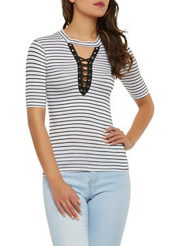 Striped Lace Up Keyhole Top - 1303038342088