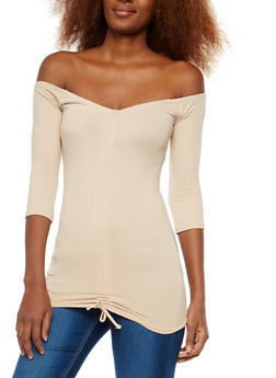 Off the Shoulder Drawstring Front Top - 1303038342331