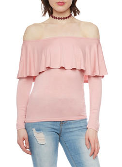 Long Sleeve Ruffled Off the Shoulder Top - 1303038347109