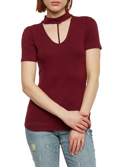 Ribbed Knit Choker Neck Top - BURGUNDY - 1303054269734