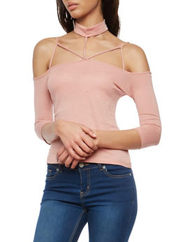 Off the Shoulder Caged Choker Neck Top - 1303054269771