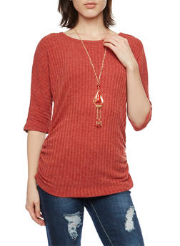 Ribbed Top with Necklace and Ruched Sides - 1303058750218