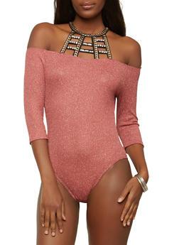 Shimmer Ribbed Knit Cold Shoulder Bodysuit - 1303058750305