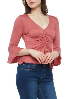 Drawstring Front Bell Sleeve Top - 1303058750464
