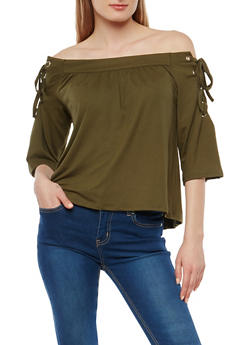 Off the Shoulder Lace Up Sleeve Top - 1303058750532