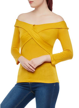Ruffled Criss Cross Off the Shoulder Top - 1303058752303