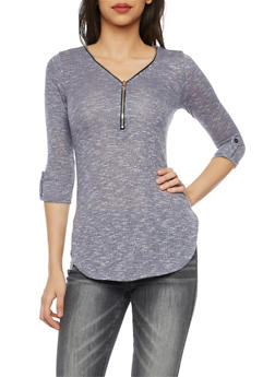 Knit Tunic Top with Zip V Neck - 1303058756337