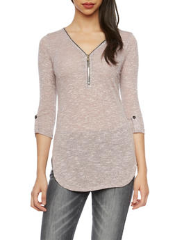 Knit Tunic Top with Zip V Neck - BLUSH - 1303058756337