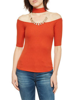Off The Shoulder Top with Choker Neck and Necklace - 1303058756613