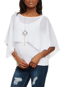 Layered Top with Chiffon Overlay and Removable Necklace - WHITE - 1303058756649