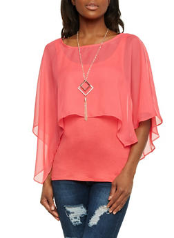 Layered Top with Chiffon Overlay and Removable Necklace - 1303058756649