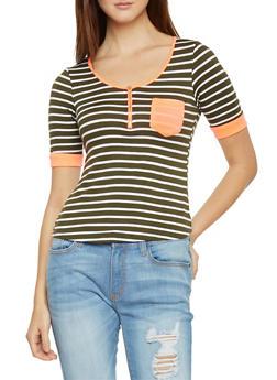 Striped Half Zip Top with Pocket - 1303058756778