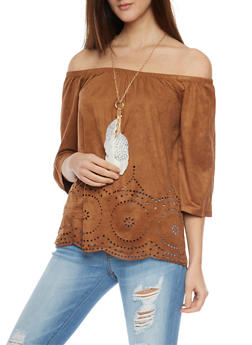 Faux Suede Off the Shoulder Laser Cut Eyelet Top with Necklace - 1303058757284