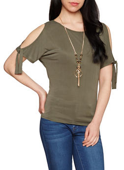 Tie Sleeve Cold Shoulder Top with Necklace - 1303058757344