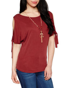 Tie Sleeve Cold Shoulder Top with Necklace - WINE - 1303058757344