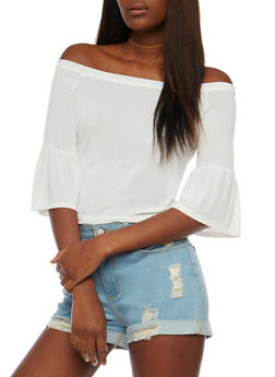 Off the Shoulder Rib Knit Top with Flared Sleeves - 1303058758168