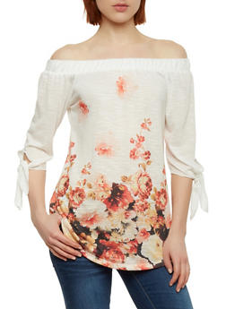 Off the Shoulder Floral Top with 3/4 Tie Sleeves - 1303058758474