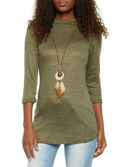 Jeweled Tunic Top in Metallic Knit - OLIVE - 1303067330185
