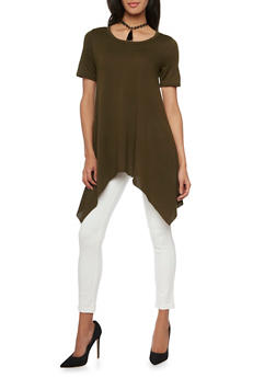 Tunic Top with Asymmetrical Hem and Choker Necklace - OLIVE - 1303067330435