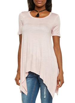 Tunic Top with Asymmetrical Hem and Choker Necklace - 1303067330435