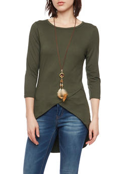 High Low Top with Envelope Hem and Necklace - 1303067330450