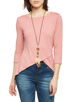 High Low Top with Envelope Hem and Necklace - BLUSH - 1303067330450