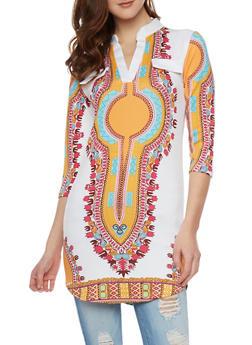 Tribal Print Scuba Knit Tunic Top - 1303067330472