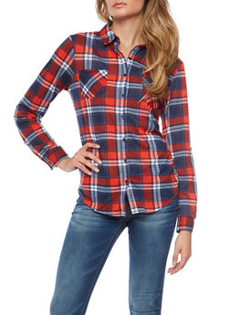 Plaid Button Front Shirt - 1303067330709