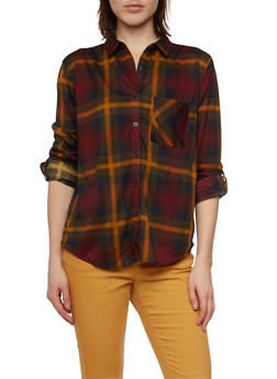 Plaid Button Up Top with Button Cuff Sleeves - 1303067330710