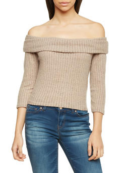 Off The Shoulder Sweater with Fold Over Panel - 1303067331053