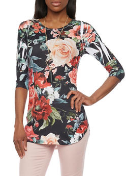 Floral Print Off Shoulder Top with Tie Sleeves and Necklace - 1303067336185