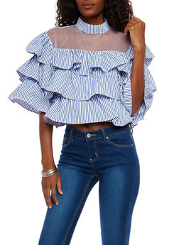 Mesh Yoke Tiered Ruffle Top - 1303074290818