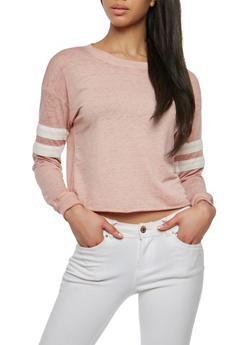 Varsity Stripe Raw Hem Sweatshirt - 1304015990809