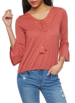 Bell Sleeve Crochet Trim V Neck Top - 1304015991612
