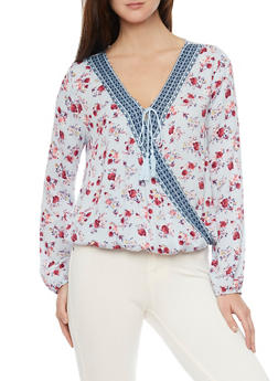 Long Sleeve Floral Draped Crepe Knit Top - 1304015992350