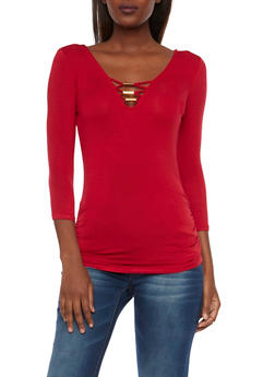 Lattice Neck Top with Ruched Sides - 1304015992444