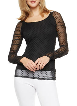 Velvet Polka Dot Mesh Top with Back Keyhole - 1304015992470