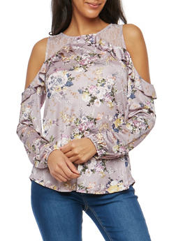 Floral Satin Cold Shoulder Top with Lace Trim - 1304015992980